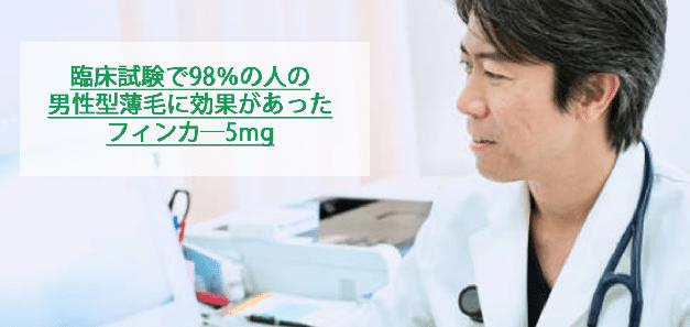 臨床試験で98%の人の男性型薄毛へ効果があったフィンカ―5mg